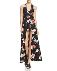 Band Of Gypsies Floral Halter Walk Through Maxi Romper Black Rose