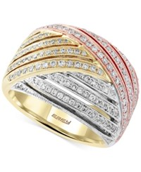 Effy Collection Trio By Effy Diamond Tri Tone Ring 3 4 Ct. T.W. In 14K Gold