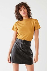 Urban Outfitters Uo Faux Leather Lace Up Mini Skirt Black