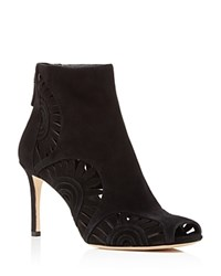 Tory Burch Leyla Floral Cutout Peep Toe Booties Black