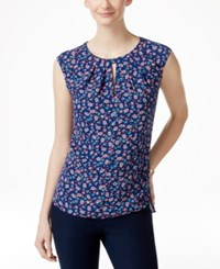 Cece By Cynthia Steffe Pleated Sleeveless Keyhole Top Available In Multiple Colors