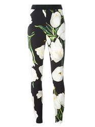 Dolce And Gabbana Tulip Print Leggings Black