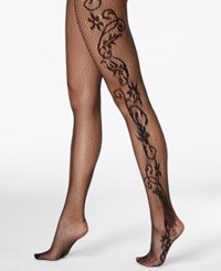 Hanes Floral Fishnet Tights 0C126 Black