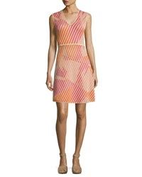 M Missoni Sleeveless Geometric Patterned Knit Dress Multi