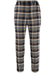 Closed Check Cropped Trousers Blue