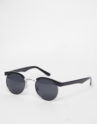 D Struct Round Retro Sunglasses Black
