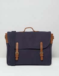 Asos Satchel In Navy Canvas With Brown Leather Straps Navy