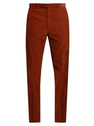 Gieves And Hawkes Slim Leg Cotton Corduroy Trousers Red