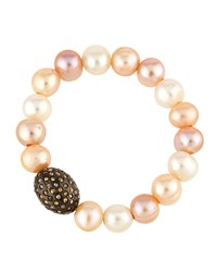 Bavna Pink Freshwater Pearl And Champagne Diamond Stretch Bracelet Women's
