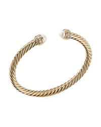 David Yurman 18K Gold Cable Bracelet W Diamonds And Pearls