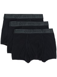 Off White Ribbed Boxer Briefs Black