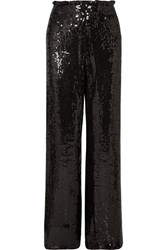 Alice Olivia Elba Sequined Crepe Wide Leg Pants Black