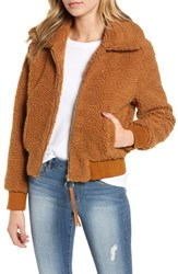 Moon River Faux Fur Bomber Jacket Caramel