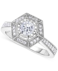 Macy's Diamond Vintage Inspired Engagement Ring 5 8 Ct. T.W. In 14K White Gold