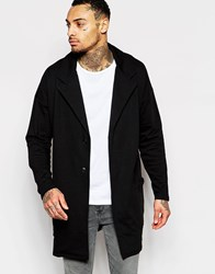 Asos Jersey Duster Coat In Black Black