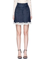 Nicholas Crochet Lace Denim Skirt Blue