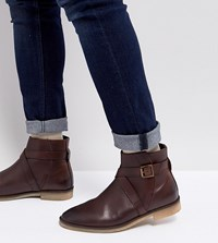 Asos Wide Fit Chelsea Boots In Brown Leather With Strap Detail And Natural Sole