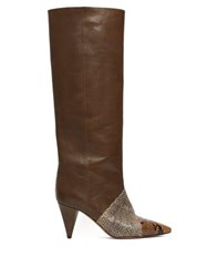 Isabel Marant Laomi Snake Effect Leather Knee High Boots Khaki Multi
