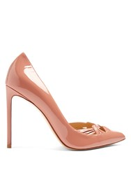 Francesco Russo Point Toe Patent Leather Pumps Light Pink