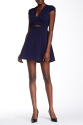 Halston V Neck Cap Sleeve Mini Dress Blue