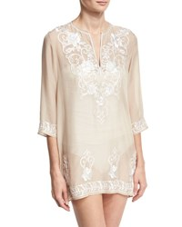 Marie France Van Damme Gigi Embroidered Silk Chiffon Tunic Coverup Nude