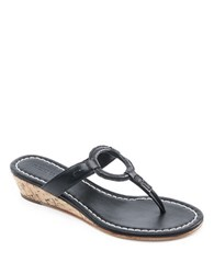 Bernardo Matrix Leather Wedge Thong Sandals Black