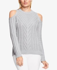 Vince Camuto Cold Shoulder Cable Knit Sweater Light Heather Grey