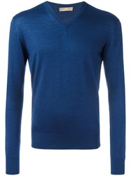 Cruciani V Neck Sweatshirt Blue