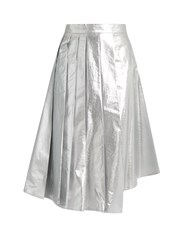 A.W.A.K.E. Shiny Starfish Asymmetric Pleated Cotton Skirt Silver
