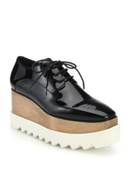 Stella Mccartney Wood And Rubber Platform Faux Patent Leather Oxfords Black