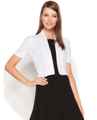 Calvin Klein Ruched Short Sleeve Shrug Cardigan White