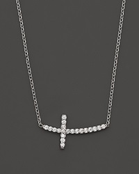 Kc Designs Small Diamond Sideways Cross Pendant Necklace In 14K White Gold .10 Ct. T.W.
