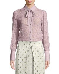Valentino Button Down Lace Blouse With Necktie Lilac