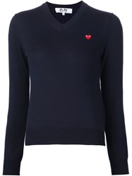 Comme Des Gara Ons Play Embroidered Heart V Neck Sweater Blue