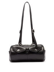 Miu Miu Flap Pocket Leather Bowling Bag Black