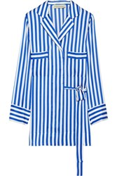 By Malene Birger Lanfi Striped Satin Blouse Blue
