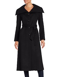 Sofia Cashmere Wool And Casmere Long Belted Coat Black