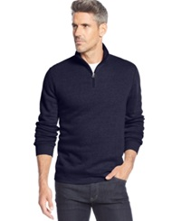 John Ashford Big And Tall Solid Quarter Zip Pullover Navy Blue