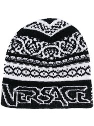 Versace Knitted Beanie Style Hat Black
