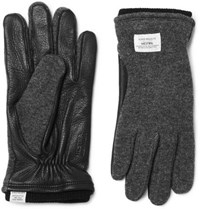 Norse Projects Hestra Svante Leather And Knitted Gloves Charcoal