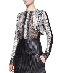 J. Mendel Long Sleeve Top With Lace Ecru Noir