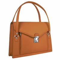 L.A.P.A. Double Compartment Calf Leather Women's Briefcase Tan