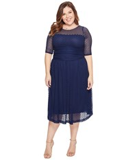 Kiyonna Alexa Retro Lace Dress Navy Blue Women's Dress