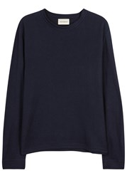 Oliver Spencer Berwick Navy Ribbed Cotton Top
