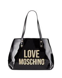 Love Moschino Patent Faux Logo Satchel Bag Black