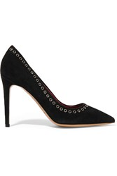 Isabel Marant Laurie Eyelet Embellished Suede Pumps Black