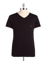 Emporio Armani Graphic V Neck T Shirt Black