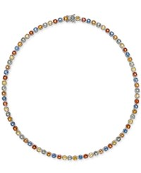 Macy's Colored Sapphire All Around Collar Necklace 25 Ct. T.W. In Sterling Silver Multi