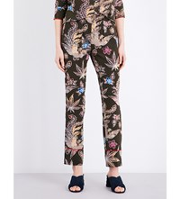 Sandro Bird And Floral Print Silk Trousers Multi Color