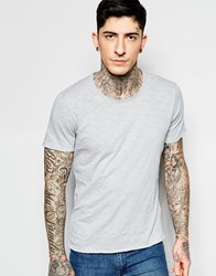 Sisley Crew Neck T Shirt In Slub Fabric Grey